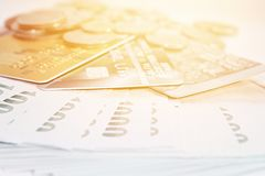 Coins, Thai Money And Credit Cards On White Background Stock Photography