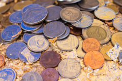 Coins in Thailand. Different value Stock Photos