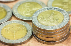 Coins of Thailand. Wat Arun Temple in Bangkok, Thailand, depicted in the Thai ten baht coin. Royalty Free Stock Photography