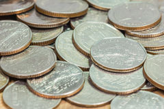 Coins of Thailand. Wat Benchamabophit or the Marble Temple in Bangkok, Thailand, depicted in the Thai five baht coin Stock Photography