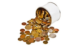 Coins in tin Stock Photos