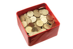 Coins in Tin Box Royalty Free Stock Photo