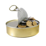 Coins in a tin can . Stock Image