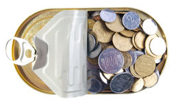 Coins in a tin can . Stock Photo