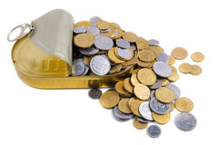 Coins in a tin can . Stock Photography