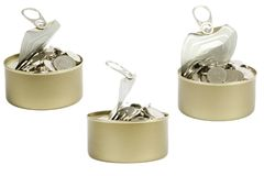 Coins in a tin can Royalty Free Stock Photo