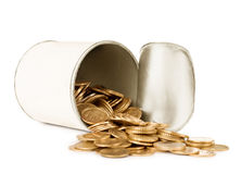 Coins in a tin can Royalty Free Stock Photos