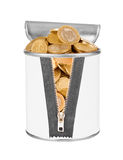Coins in tin . Royalty Free Stock Image