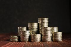 Coins Tower on the Wood Table, Concept picture of Financial royalty free stock photo