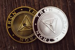 Coins Tron TRX, digital money, new cryptocurrency. Tron is a promising cryptocurrency stock photography