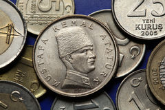 Coins of Turkey. Mustafa Kemal Ataturk Royalty Free Stock Photo