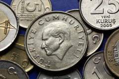 Coins of Turkey. Mustafa Kemal Ataturk Stock Photography