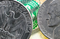 Coins twenty five and ten US cents close up. Stock Image