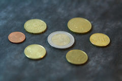 Coins - two euro with euro cents Stock Photos