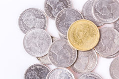 Coins. Two of Thailand's baht coins currently in use Royalty Free Stock Photography