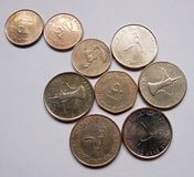 Coins of UAE called fils and dirhams kept artistically Royalty Free Stock Images
