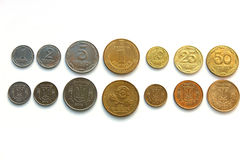 Coins of Ukraine. All coins of Ukraine: the obverse and reverse of a white background Royalty Free Stock Images