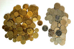 Coins Ukraine. Ukrainian small coins on a white background, gold apart from silver stock photography