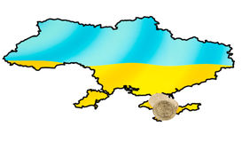 Coins on ukrainian map on Crimea peninsula Stock Photography