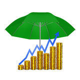 Coins under an umbrella Stock Images