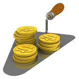 Coins US dollar lie on the trowel Royalty Free Stock Photography