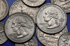 Coins of USA. George Washington Stock Images