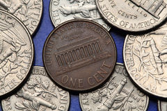 Coins of USA. US cent. Lincoln Memorial. Coins of USA. Lincoln Memorial in Washington D.C. depicted on the US one cent coin Stock Images