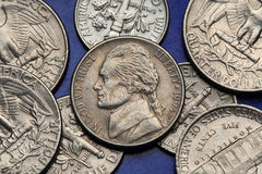 Coins of USA. US nickel, Thomas Jefferson Royalty Free Stock Images