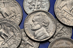 Coins of USA. US nickel, Thomas Jefferson Stock Photography