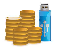 Coins and USB data flash driver Royalty Free Stock Photos