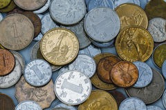 Coins of USD, RMB and HKD Stock Photo