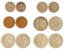 Coins of ussr 1965-91 years Stock Photography