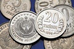 Coins of Uzbekistan. State emblem of Uzbekistan depicted in the Uzbekistani som coins and the Uzbekistani 20 tiyin coin Stock Photos