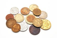 Coins of the various countries Royalty Free Stock Images