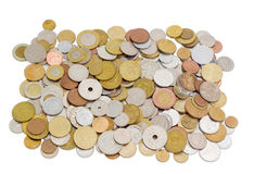 Coins from various countries in circulation at different times Stock Photography