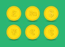 Coins various currencies Stock Photos