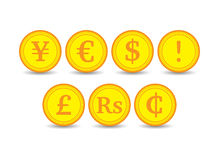 Coins various currencies Royalty Free Stock Photo