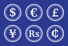 Coins various currencies Royalty Free Stock Photos