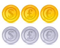Coins vector icons set - golden and silver. Stock Photos
