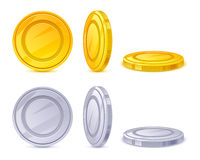 Coins vector icons set - golden and silver. Royalty Free Stock Photos