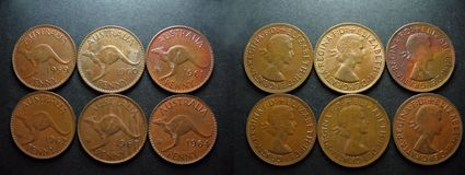 Coins Vintage Copper Australian Penny. The last six minted Queen Elizabeth 11 vintage pre-decimal coins. Australian pennies with the reverse side displaying the Royalty Free Stock Image