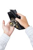 Coins in wallet Royalty Free Stock Image