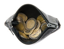 Coins in a wallet Royalty Free Stock Image