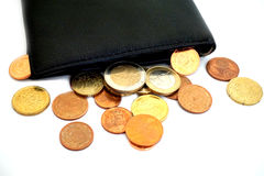 Coins on wallet Royalty Free Stock Photos