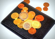 Coins on wallet Stock Photo