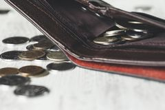 Coins on wallet royalty free stock image
