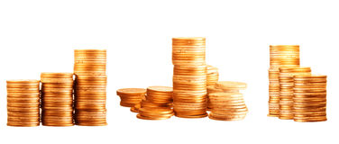 Coins on white Stock Images