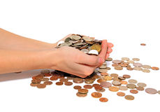 Coins on white background Stock Photos