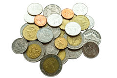 Coins white background Royalty Free Stock Photos