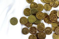 Coins on a white background. Royalty Free Stock Photo